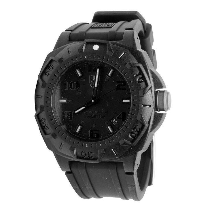 New Luminox Analog Men's Watch Black Sentry 0201.BO Rubber Swiss Quartz Blackout #Luminox #Sport
