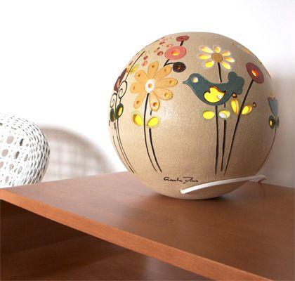 Lampada da tavolo in ceramica gres a sfera Modello Natura   KRISMAKER