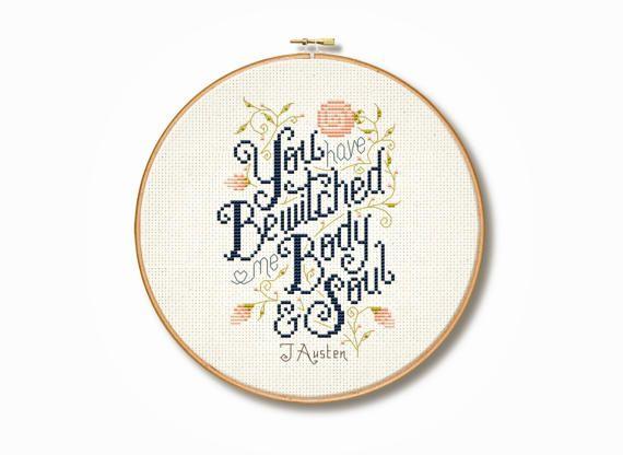 Jane Austen // Pride and Prejudice // cross stitch quote // Etsy