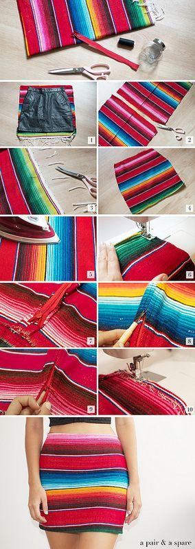 DIY Falda #Mexican #rug #skirt -alejandra castrejon-