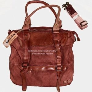 FREE PEOPLE Bag Distressed Canvas Leather Big Tote.
