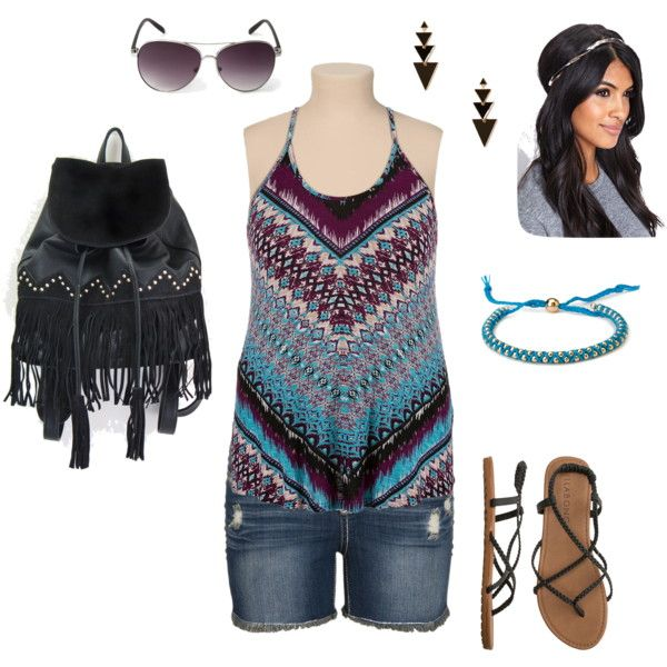 """Boho Chic Summer- Plus Size Outfit"""