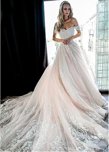 Fashionable Tulle Off-the-shoulder Neckline A-line Wedding Dresses With Beaded Lace Appliques