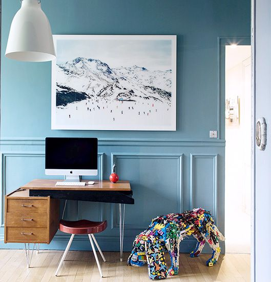 The Most Beautiful Homes with Modern Victorian Style // blue walls, desk.  Blue office.