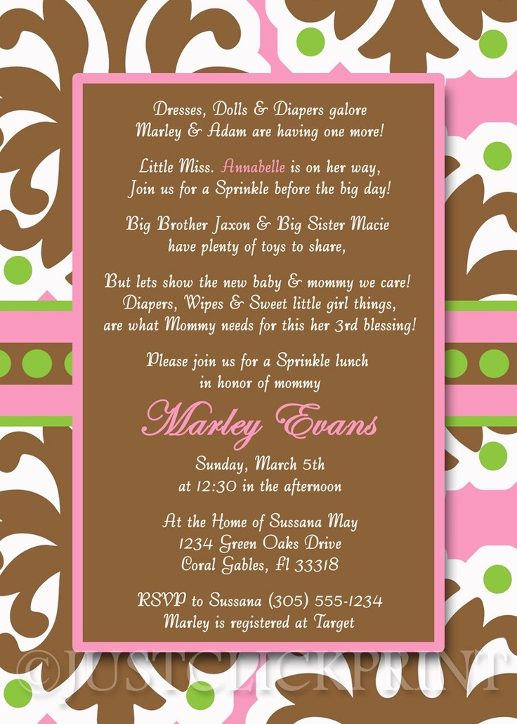 baby shower invitation wording for bringing diapers%0A sprinkle shower invite  Love this wording  Rebekah Eddings