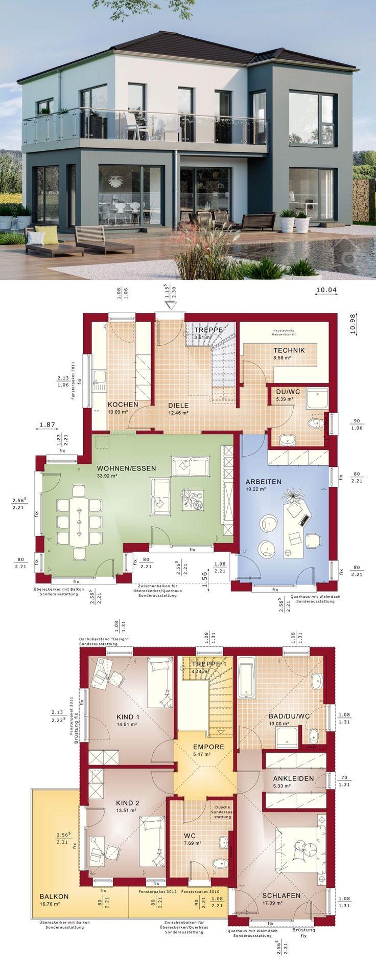 Fertighaus Stadtvilla Neubau modern Grundriss mit