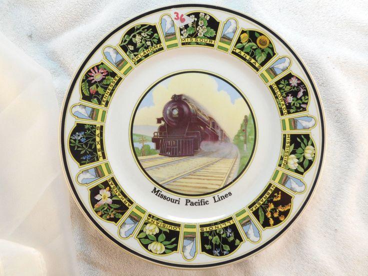 "Missouri Pacific Lines Railroad China State Flowers Service Plate 10 5""EC 36 | eBay"