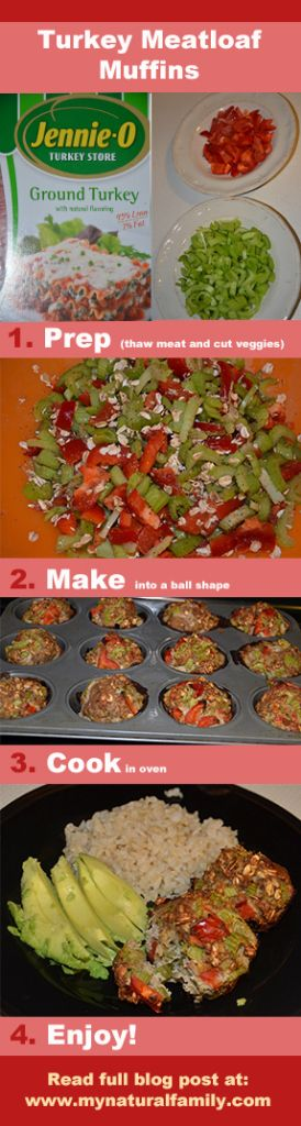 Gluten-Free Turkey Meatloaf Muffins Recipe - Fast, Healthy & Delicious - MyNaturalFamily.com #turkey #recipe