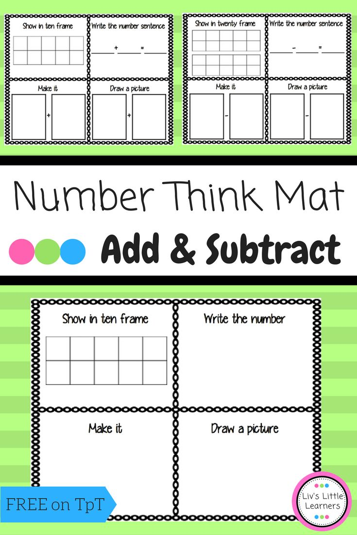 **FREEBIE** Number Think Mat | Math | Free | Printable | Counting | Addition | Subtraction | Ten Frame | Activity | Early Childhood Education