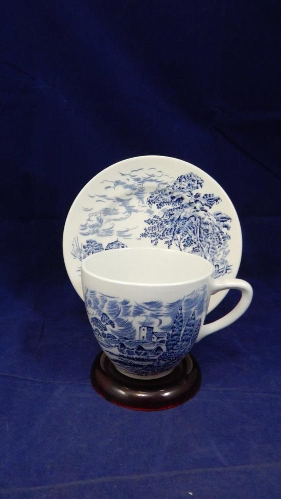 VTG 1968 Wedgwood Wedgewood ENGLAND Countryside Blue on White Cup & Saucer