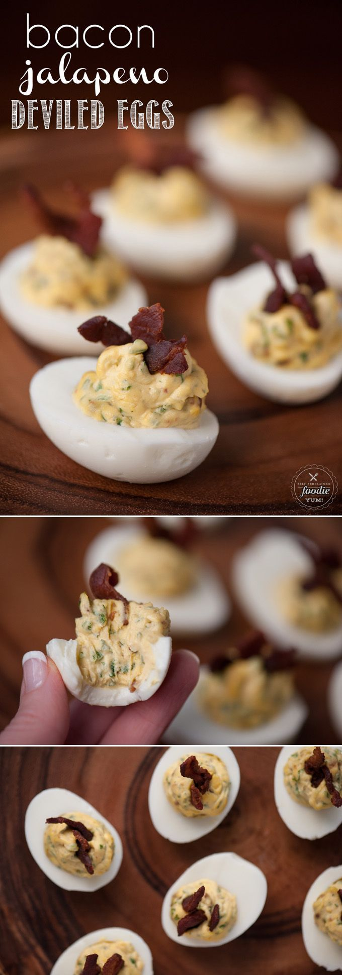 Bacon Jalapeño Deviled Eggs are a spicy two bite appetizer that people love, especially as game day grub or during a party. #deviledeggs #bacon #jalapeno #baconjalapeno