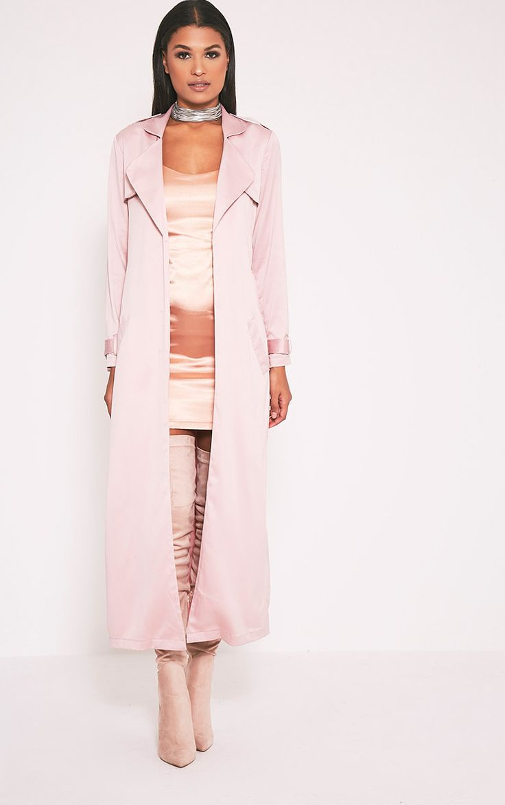 Celest Baby Pink Satin Duster Mac - Coats & Jackets - PrettylittleThing | PrettyLittleThing.com