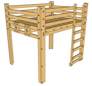 Queen Loft Bed Plans - DIY - This loft bed is a sturdy elevated frame for a queen bed. You can also start with this project and add on to create the Bed Fort!