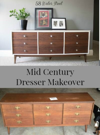 58 Water Street Mid Century Dresser In White And Walnut Furniture Makeover Ideas 2018