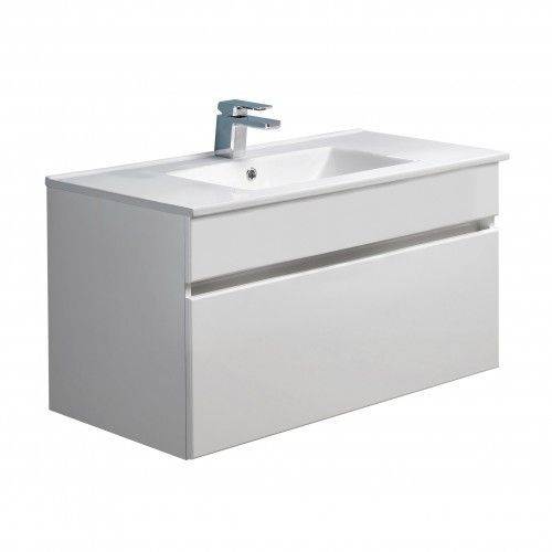 Pinnacle 900 Single Drawer Vanity White Gloss