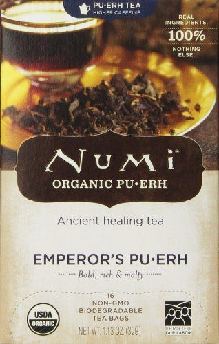 Numi Organic Tea Emperor's Puerh, Full Leaf Black Tea, 16 Count Tea Bags - http://teacoffeestore.com/numi-organic-tea-emperors-puerh-full-leaf-black-tea-16-count-tea-bags/