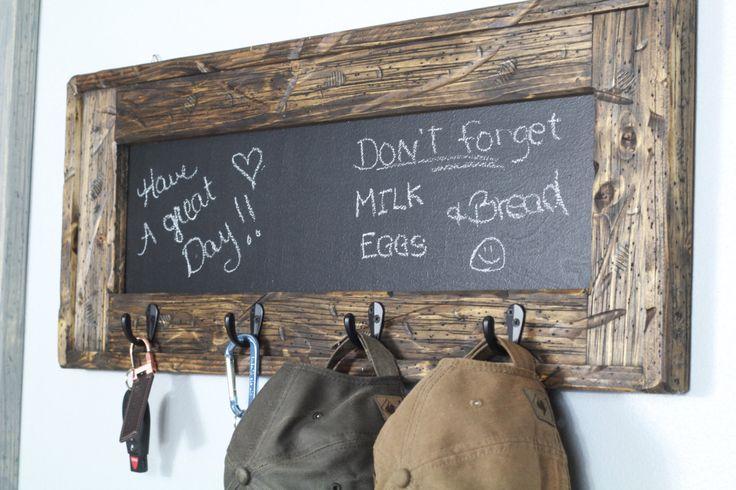 Chalkboard Key Holder, Hat Rack, Fathers Day, Entry Decor, Rustic Chalkboard, Grocery List, Rustic Decor by TRHOutfitterLLC on Etsy