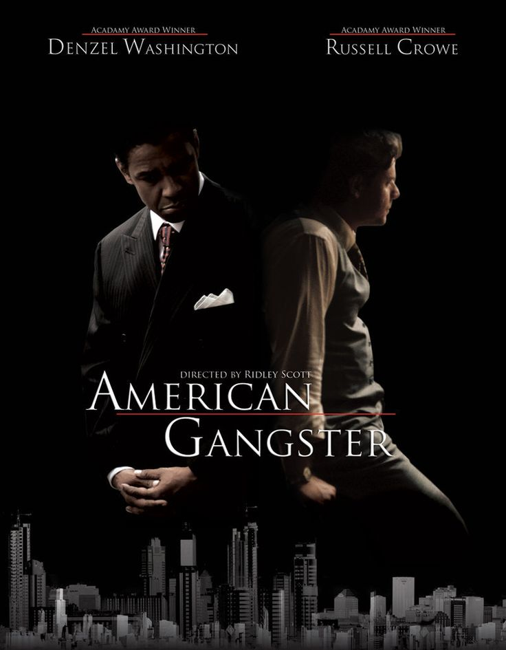 American Gangster - movie poster featuring Denzel Washington as Frank Lucas and Russell Crowe as Det. Richie Roberts #GangsterMovie #GangsterFlick