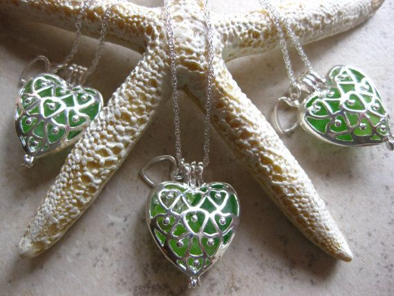 Sea glass jewelry irish wedding locket necklaceset by SamiSeaglass, $60.00