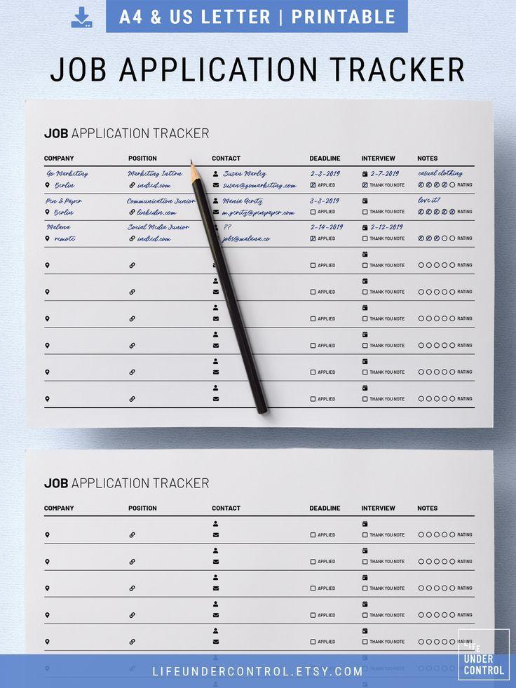 Traqueur de demande d'emploi imprimable | Lettre A4 & US ...