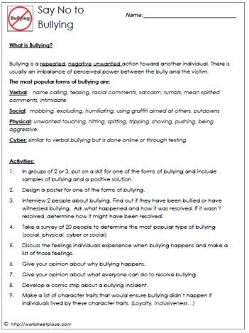 Bullying and the 4 Types Worksheets; All kinds of worksheets in all subjects