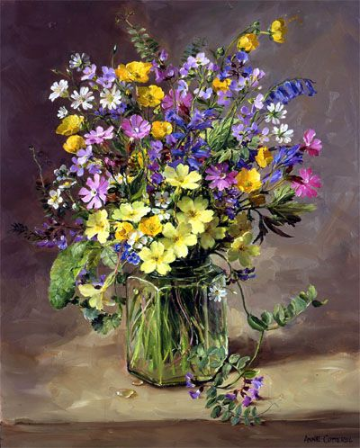 Spring Flowers in a Jam Jar by Anne Cotterill
