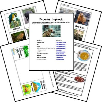 Ecuador Country Lapbook  A great resource to learn more about Ecuador with your children, and it is free!