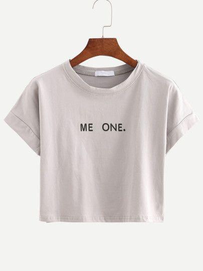 Camiseta letras crop -gris