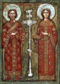 Icono oriental ortodoxo de Constantino el Grande y Santa Helena, su madre. El uso de la cruz con fines políticos