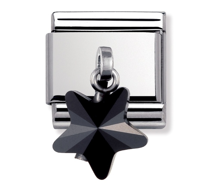 Nomination stainless steel and swarovski elements black star charm 030603 19