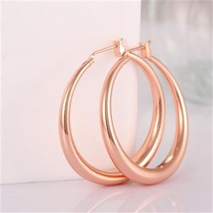 gold plated hoop earrings rose yellow gold hoop earrings for women  big loop hoop earrings circle earring fashion Jewelry