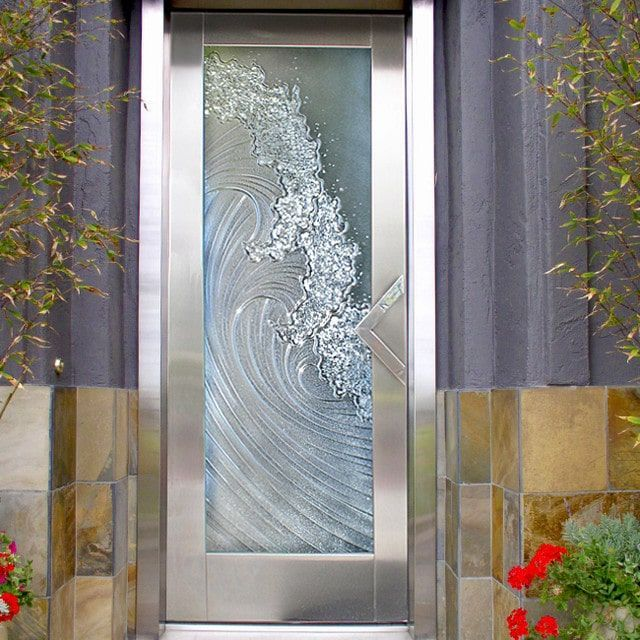 Crashing Waves Etched Glass Door Beachcottages Etched Glass