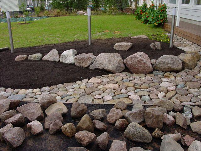 Etupihalle tuli yksi massiivinen istutusryhmä, jossa käytettiin pensaita ja perennoja. Pihalta löytyneet isot kivet löysivät paikkansa perennapenkistä. Pienet kivet hyödynnettiin reunusten tekemise…