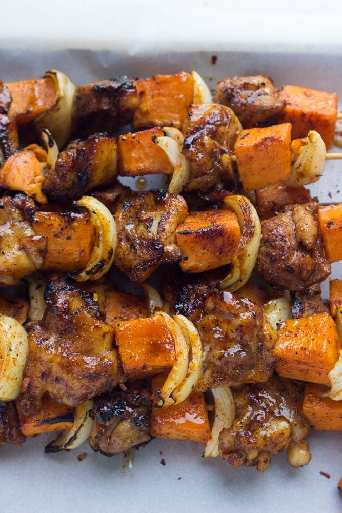 Chicken chunks + tender sweet potato kebabs in a spicy rub and sweet glaze. Grilled until melt in your mouth juicy good. Such an easy weeknight dinner! | littlebroken.com @littlebroken