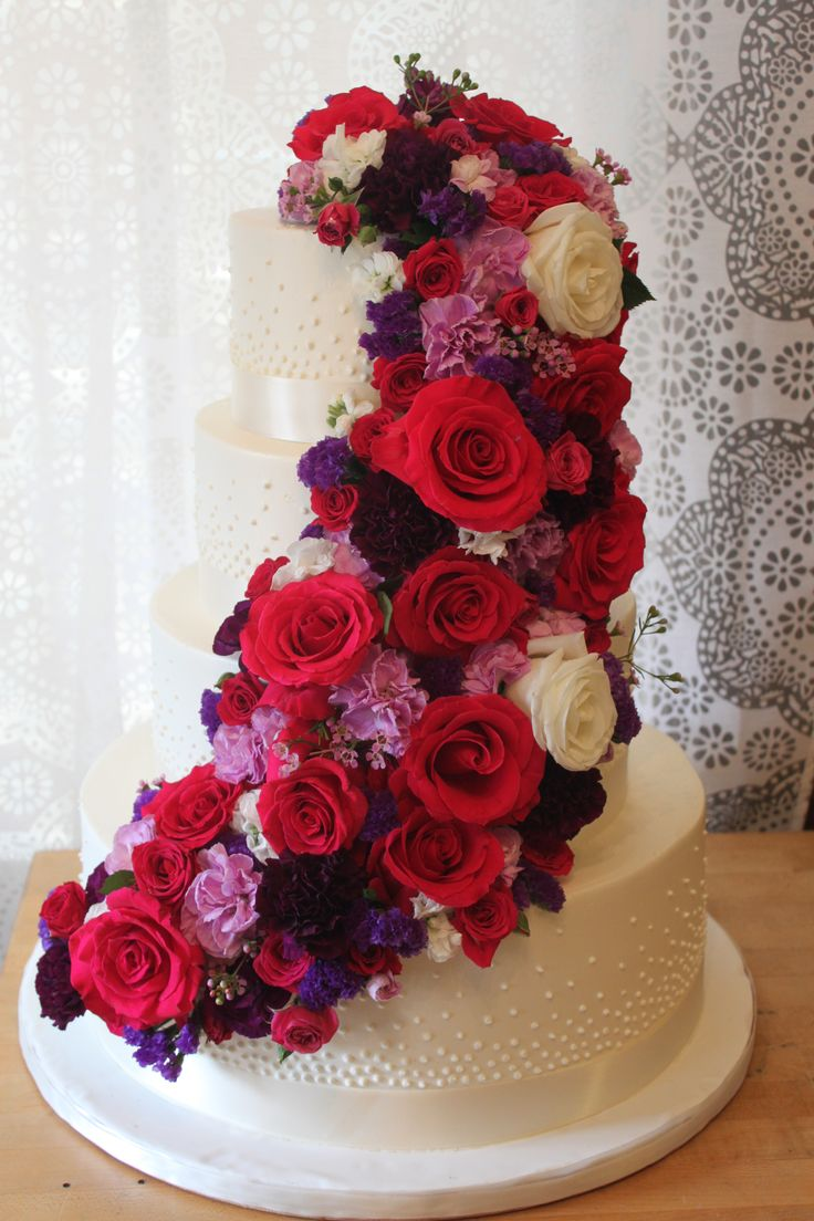 79 best wedding cakes images on pinterest bakeries wedding cake breathtaking red pink and white wedding cake dhlflorist Image collections