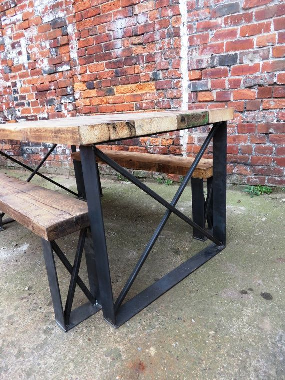 reclaimed industrial chic 6 seater solid wood and metal dining tablecafe bar restaurant furniture