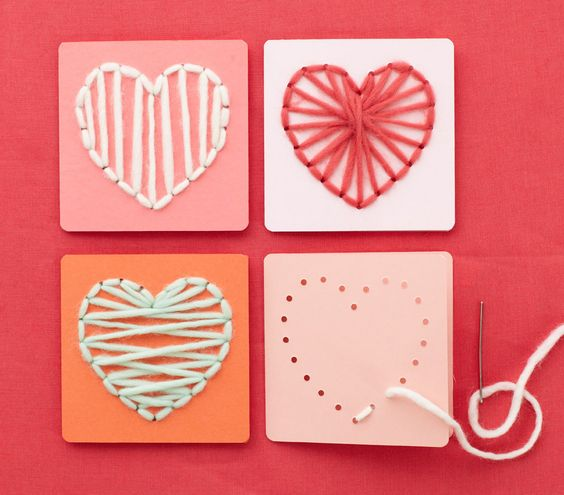How To: Make Heart-Sewn Valentine | 10 Creative Valentine's Crafts for Kids | Real Simple....only with a hole punch and have kids string the yarn
