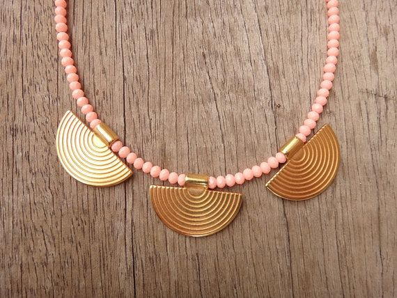 Greek Style Gold plated Brass Elements Peach Crystal by Twininas