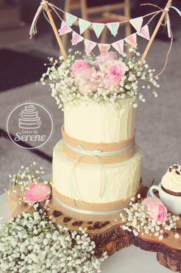 Coffee theme rustic wedding cake