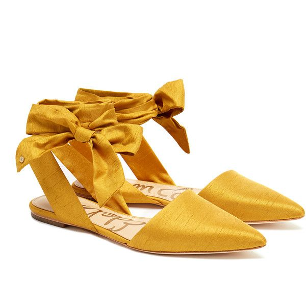 Sam Edelman Brandie Yellow Satin Point-Toe Flats (76 AUD) ❤ liked on Polyvore featuring shoes, flats, yellow, sam edelman flats, pointed-toe flats, pointy toe shoes, slip on flats and flat pumps