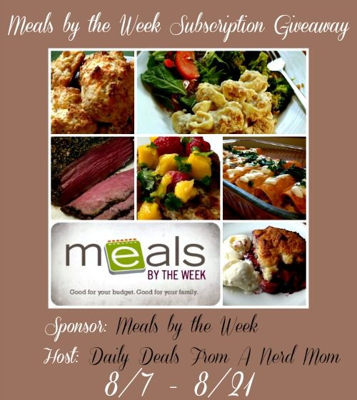 Meals by the Week Subscription Giveaway {ends 8/20} >> Daily Deals From A Nerd Mom