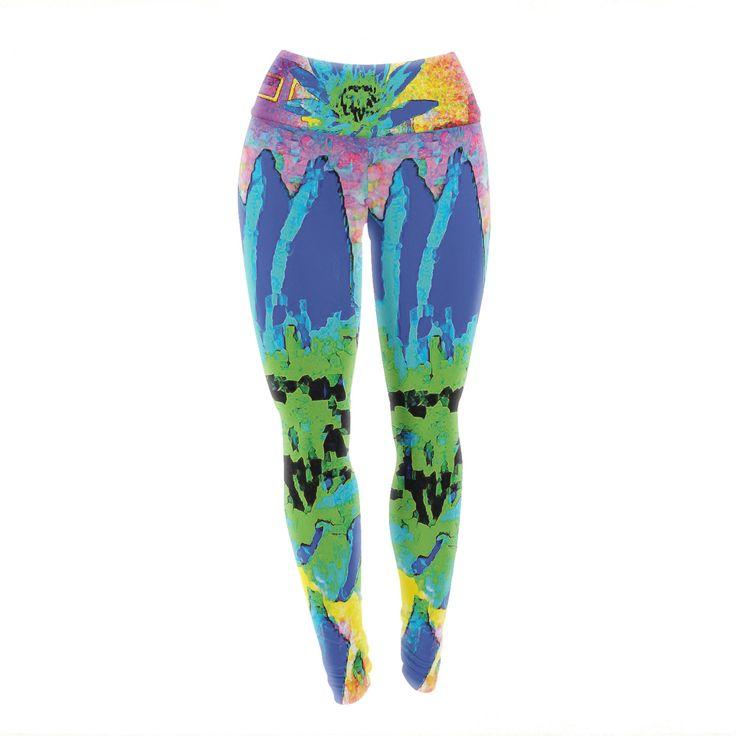 "Anne LaBrie ""Wild Lotus"" Blue Flower Yoga Leggings from KESS InHouse"