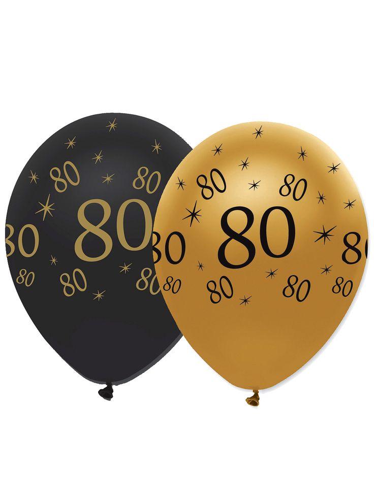 6 Globos negro y dorado látex 80 años: Este lote incluye 6 globos de látex.Los globos son dorados y negros con el número 80.Estos globos pueden utilizarse con bomba de aire o helio.Estos globos son perfectos para dar el...
