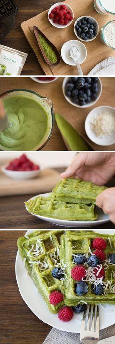 Matcha Waffle Recipe: Vegan Gluten-Free Coconut Encha Organic Matcha Waffle   http://encha.com   #vegan #waffle #matcha