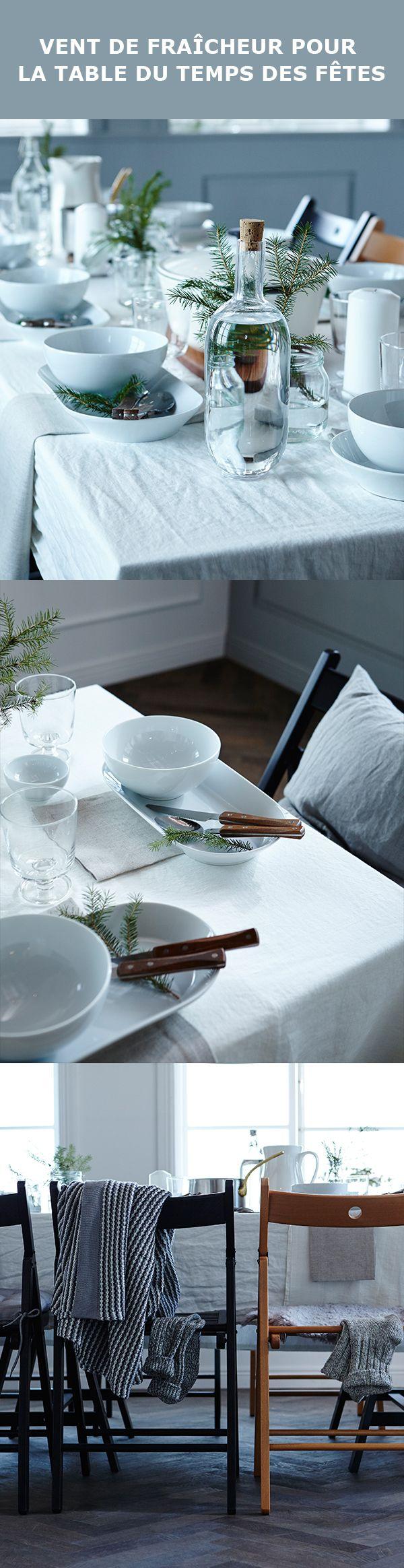 Parfois, les décors les plus simples sont les plus charmants. Le secret d'une table épurée est l'attention portée aux détails. Agencez une nappe blanche impeccable aux plats de service IKEA 365+, puis ajoutez des touches de verdure. C'est aussi simple que ça !