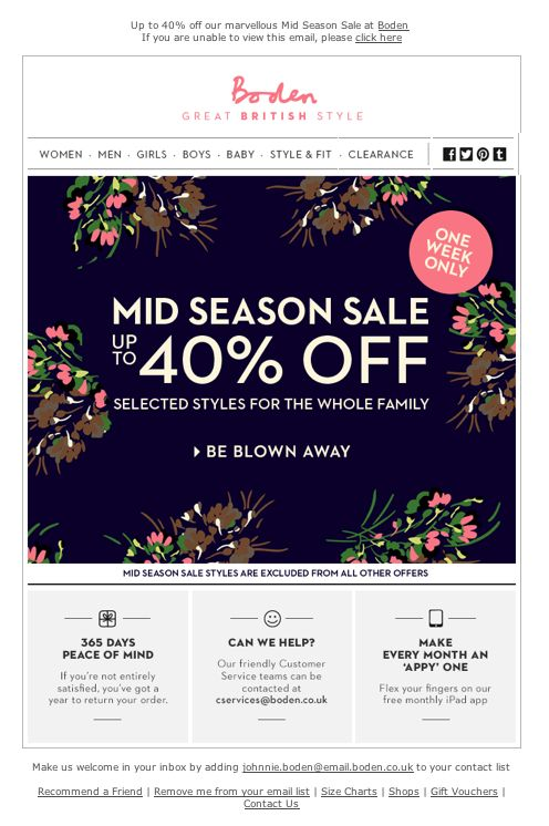 16 best email newsletter design images on pinterest for Boden direct uk