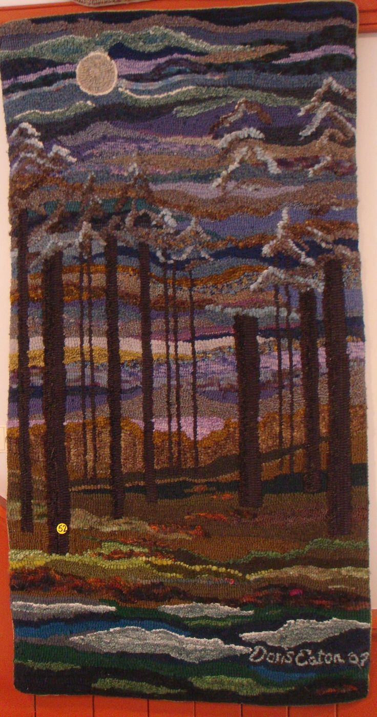 Moonlight by Doris Eaton: Rugs Backgrounds, Hooks Rugs Crafts, Rugs Landscapes Pictorial, Awesome Rugs, 2 Hooks Rugs Underfoot, Eaton Rugs, Hobby Rugs Hooks, Rugs Hookinh, Rugs Ii