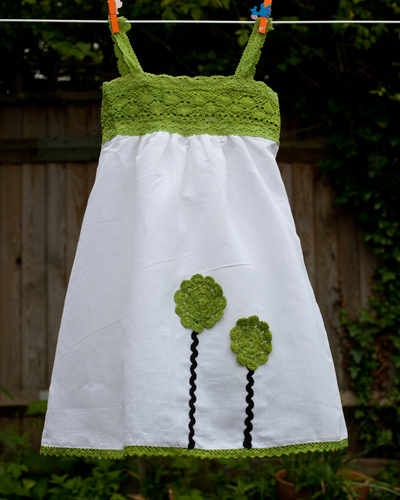 Linen dress w/ crochet bodice. kids dress