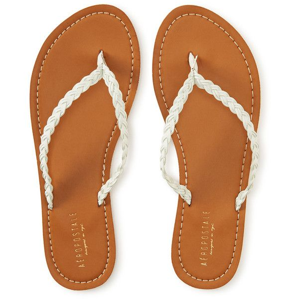 Aeropostale Braided Faux Leather Flip-Flop ($14) ❤ liked on Polyvore featuring shoes, sandals, flip flops, flats, sapatos, bleach, woven flats, faux leather sandals, aeropostale flip flops and woven sandals