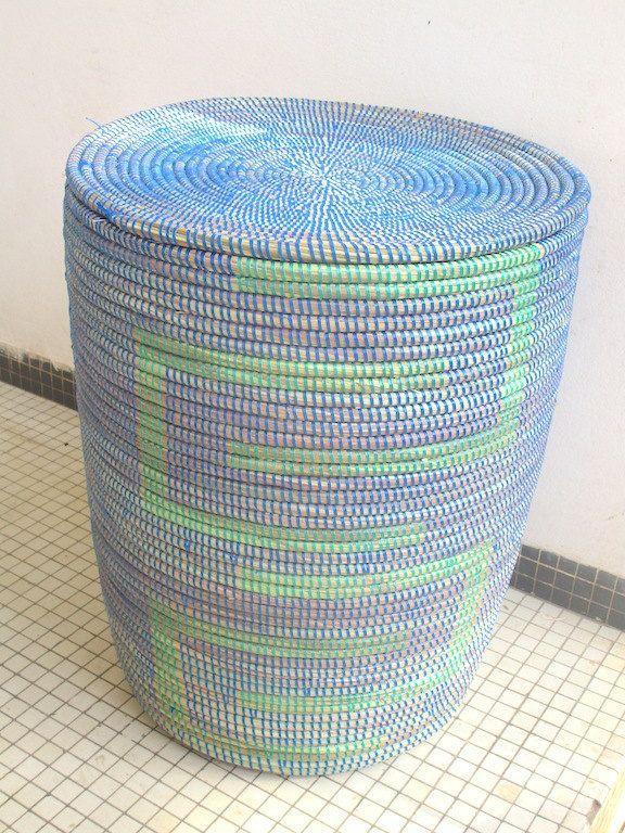 Side table, Exclusive Basket,End Table, Hamper,Laundry, Home and Decor, Indigo Blue and Jade Green,Nightstand by africanbaskets on Etsy